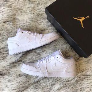 "Men's Nike Air Jordan 1 Retro Low ""Triple White"""
